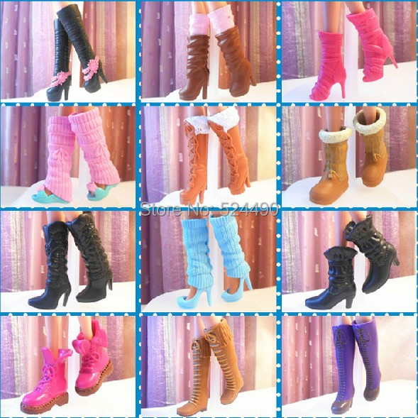 10 pairs wholesale mix different styles fashion doll high heeled boots jackboots shoes Different fashion style groups