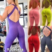 Sexy Halter Backless Womens Yoga Pants Stretchy One-pieces Sport Suit Fitness Exercise Jumpsuit Bodysuit Running Sportwear