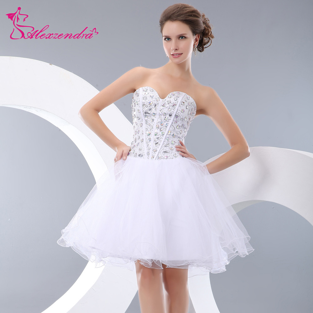 US $89.1 10% OFF Alexzendra White Organza A Line Mini Short Prom Dresses  2018 Beaded Bodice Party Dresses Plus Size-in Prom Dresses from Weddings &  ...