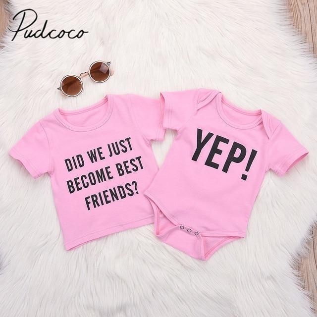 2018 Brand New Newborn Infant Toddler Baby Girl Twin Bodysuit