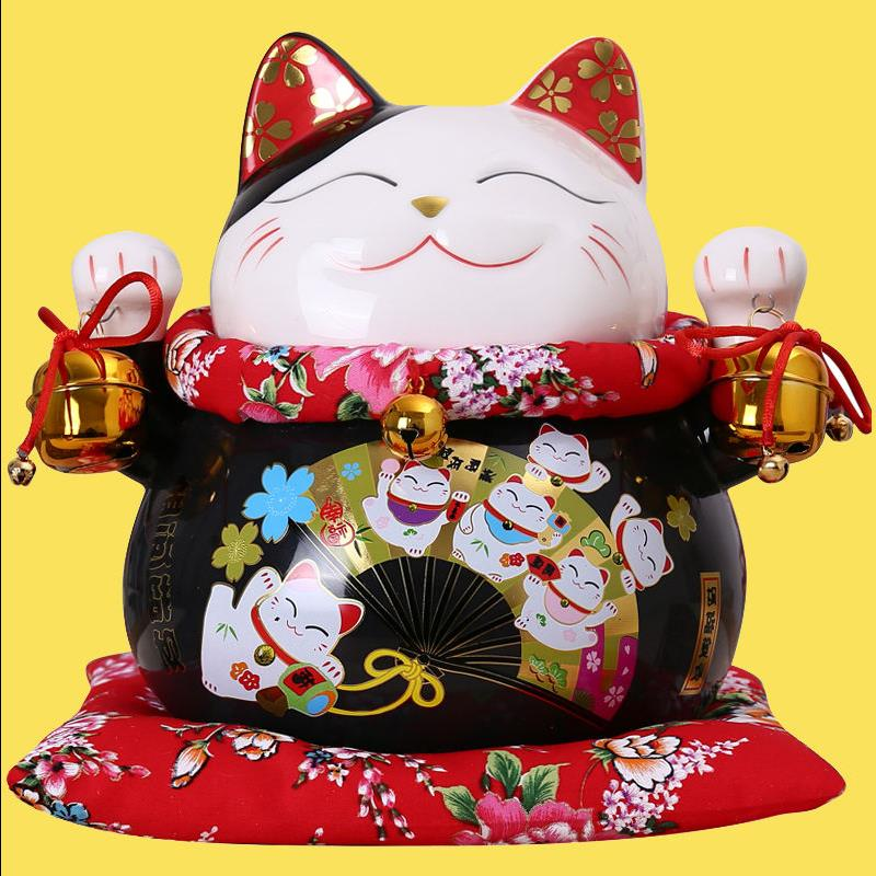 Cute Cat Piggy Bank Animal Figurines Maneki Neko Kitten Ceramic Lucky Cat Money Box Home Desktop Decoration Creative Gifts R1915