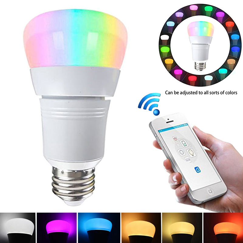 E27 Smart LED Bulb Wifi Remote Control RGB Light for Echo Alexa Google Home Decoration Lamp ALI88 icoco e27 smart bluetooth led light multicolor dimmer bulb lamp for ios for android system remote control anti interference hot