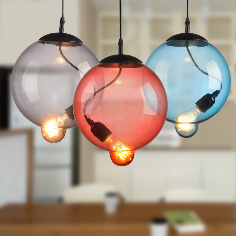 Bubble Ball Pendant Ceiling Lamp Colorful Glass Droplight For Cafe Bar Hall Coffee Shop Club Store Balcony Gallery Corridor edison industrial vintage metal pendant hanging lights cafe bar hall shop club store restaurant balcony droplight black decor