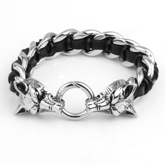 81646b49f Fine Jewelry Two Wolf Heads Stainless Steel Leather Men's Bracelet Male  Black Genuine Leather Weaved Animal
