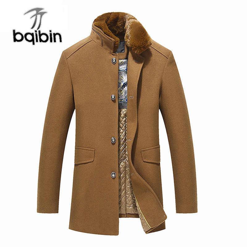 Брендовая зимняя мужское шерстяное пальто Модные меховой воротник Тонкий  Жир Повседневное утолщаются бушлат Для мужчин куртка b18c9323d8f
