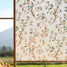 3D embossing Stained peony Window Film Glass Sticker Static Cling Self-Adhesive Home foil decorative Privacy films length 100cm privacy window foil film 3d cherry stained static cling glass sticker self adhesive pvc glass film furniture decorative 90x200cm