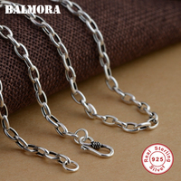 BALMORA 100% Real 925 Sterling Silver Necklaces for Women Men 20 30 inches Chains Fashion Jewelry Accessories Bijoux 0002