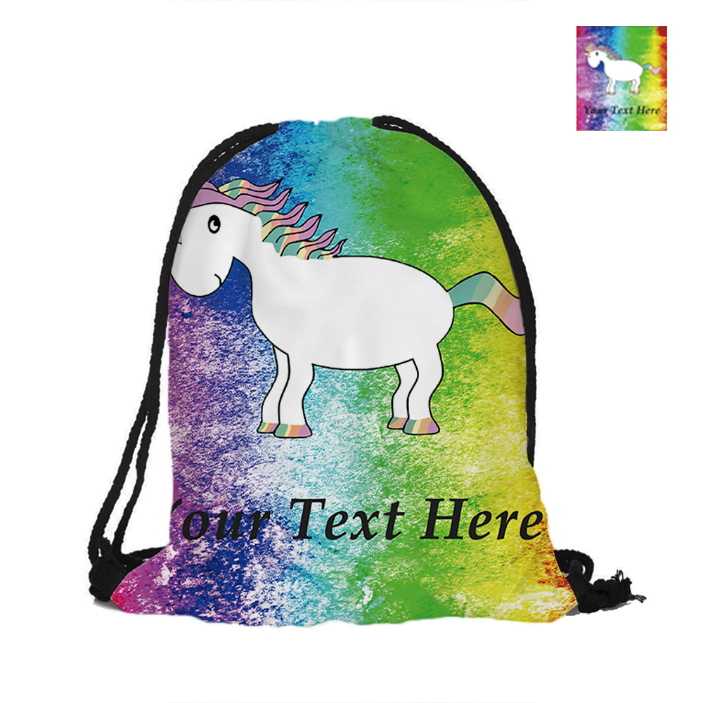 Personalized Text Unicorn With Rainbow Color Printed Drawstring Bag Backpack Gift For School Girl Boy Printing Travel Softback