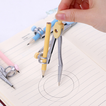1 Box Math Geometry Metal Compasses With Pencil Cartoon Love Couples Pattern School Drafting Supplies Stationery for Students