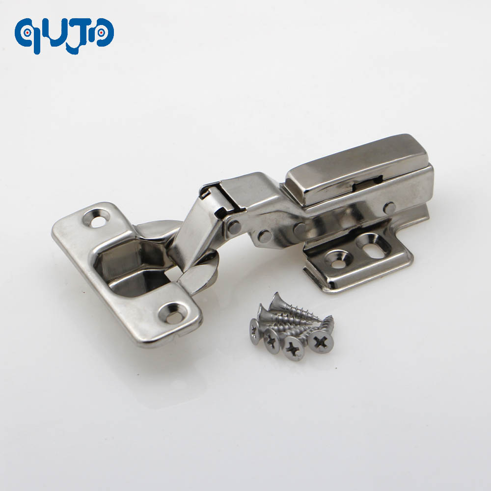 Stainless steel 304 Half overlay furniture Concealed Hydraulic kitchen cabinet hinges-two way hinges 2pcs set stainless steel 90 degree self closing cabinet closet door hinges home roomfurniture hardware accessories supply