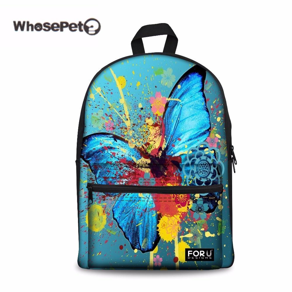 WHOSEPET Butterfly Fashion School Bags Women Children Schoolbag Back Pack For Teenage Girls Bolsas Mochilas Femininas 2017 New
