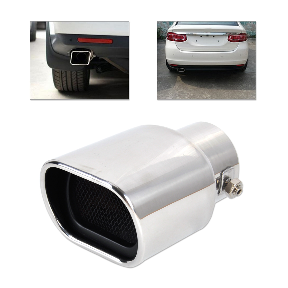 DWCX Car Universal Straight Stainless Steel Exhaust Tail Rear Muffler Tip Pipe End 32mm - 56mm for VW Nissan Peugeot Toyota Mini
