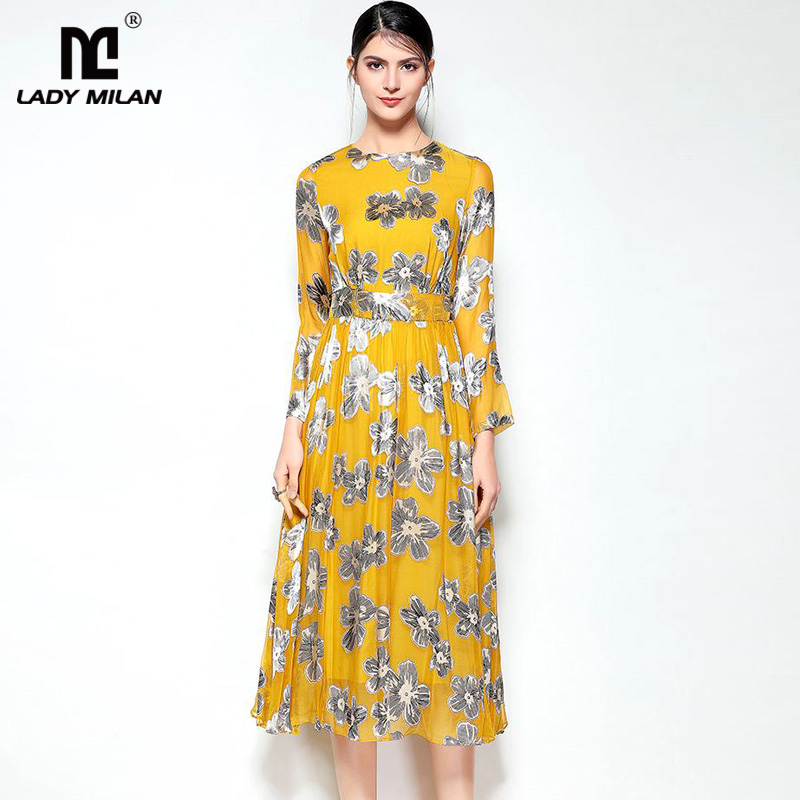 Lady Milan 2018 Womens O Neck 3/4 Sleeves Embroidery Elegant Fashion Casual 100% Silk Dresses in 2 Colors