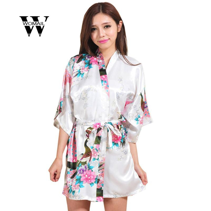 2018 Hot Sale Womens Half Sleeves Long Silk Robe Nightdress Nightwear Sleepwear New Arri ...