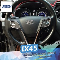 UNION ABS Chrome Steering Wheel Protection Sequins Cover Sticker For Santa Fe IX45 2013 2015 steering wheel trim Accessories
