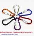 5PC/Lot 6# Aluminum Alloy Gourd shaped Carabiner With Screw Lock Mosqueton For Outdoor Camping Hiking EDC Tool AA07-5P