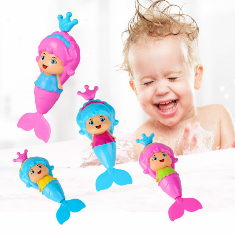 Baby Bath Toys Cute Cartoon Animal Mermaid Clockwork Dabbling Classic Swimming Water Wound Up Chain Bathroom Toy For Kids
