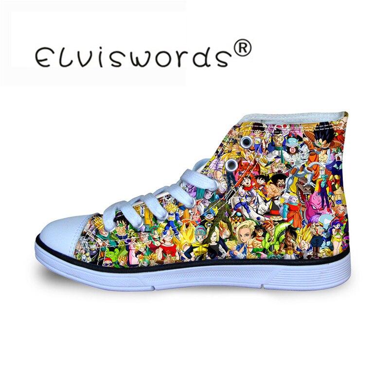 ELVISWORDS Sneakers Canvas Shoes Dragon-Ball-Z Prints Flats Comfortable School Student