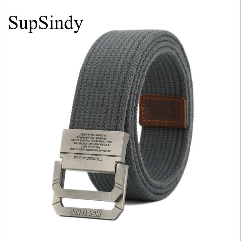 SupSindy Men&women Canvas Belt Alloy Buckle Double Ring Cotton Military Belt Army Tactical Belts For Men Best Quality Male Strap