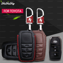 Genuine Leather Remote Car Key Case Cover Shell Protection For Toyota Hilux Fortuner Land Cruiser Camry  Car Styling Accessorise soft tpu car key case cover keychain for toyota avalon 8 camry 2019 levin ioza chr