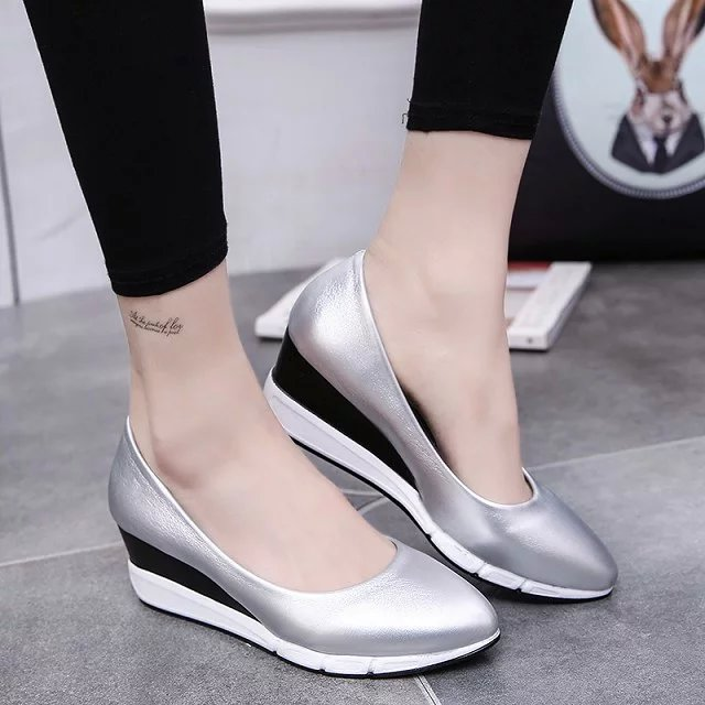 2017 New Spring Women Shoes Fashion Women Pumps Wedge Pointed Toe Middle Heel Shoes Women Casual Shoes Wholesale Free Shipping kbstyle 2017 new spring shoes for women brand pointed toe womens flats fashion young ladies casual shoes hot sale wholesale