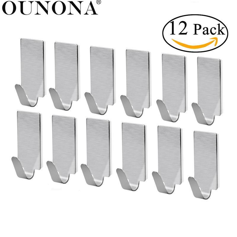 OUNONA 12pcs Towel Hooks Towel Holder Racks Robe Hanging Hooks Wall Storage Hooks for Kitchen Bathroom Adhesive Wall Hanger
