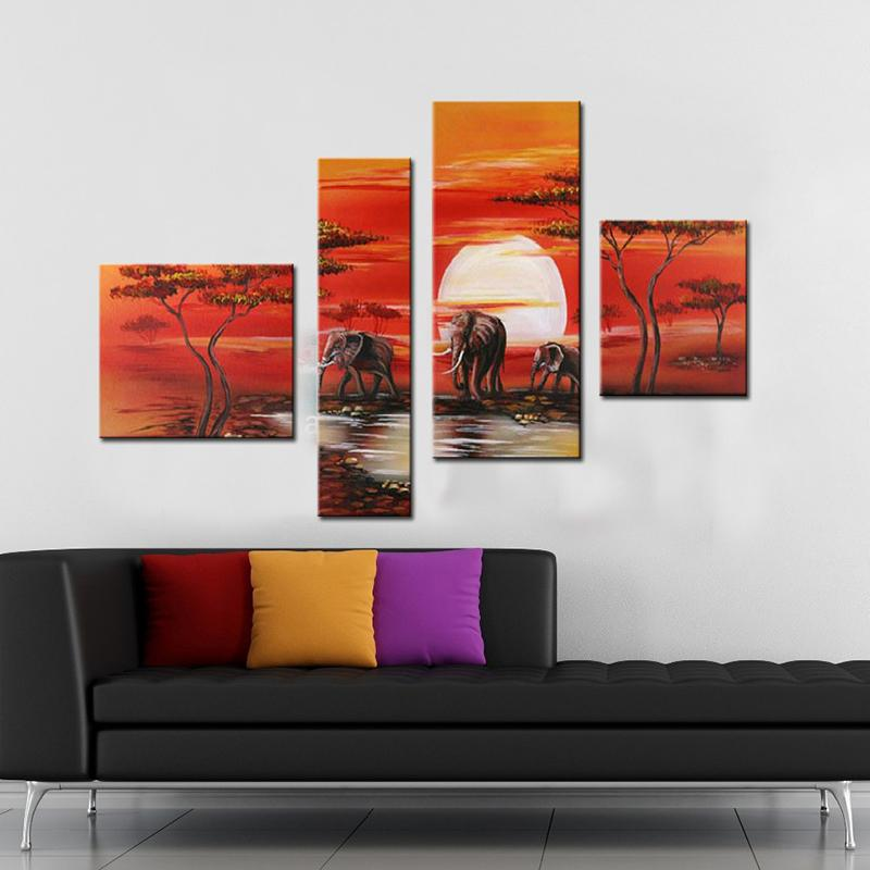 DropShipping Modern Handpainted Wall Art Group Landscape Oil Painting on Canvas African Animal Sunset Home Decoration