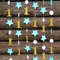 (2strands/lot) Blue Birthday Decor,Gold Garland,Paper Garland,Metallic Gold Number One and Star garland Photo Booth