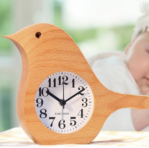 Creative Wooden Bird Alarm Clocks Simple Silent Bedroom Quartz Clock Cute Funny Students Desktop Table Clock Home Art Decoration