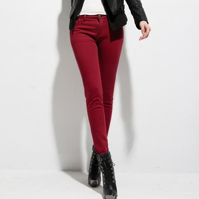 Mujeres libres del envío de terciopelo grueso pantalones calientes moda coreana delgada del lápiz pantalones de cintura alta Ladies invierno pantalones calientes femeninos