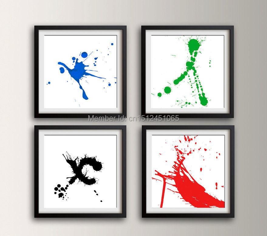 Splash Colorful Room Wall: Modern Abstract Colorful Splash Ink Colors Wall Art