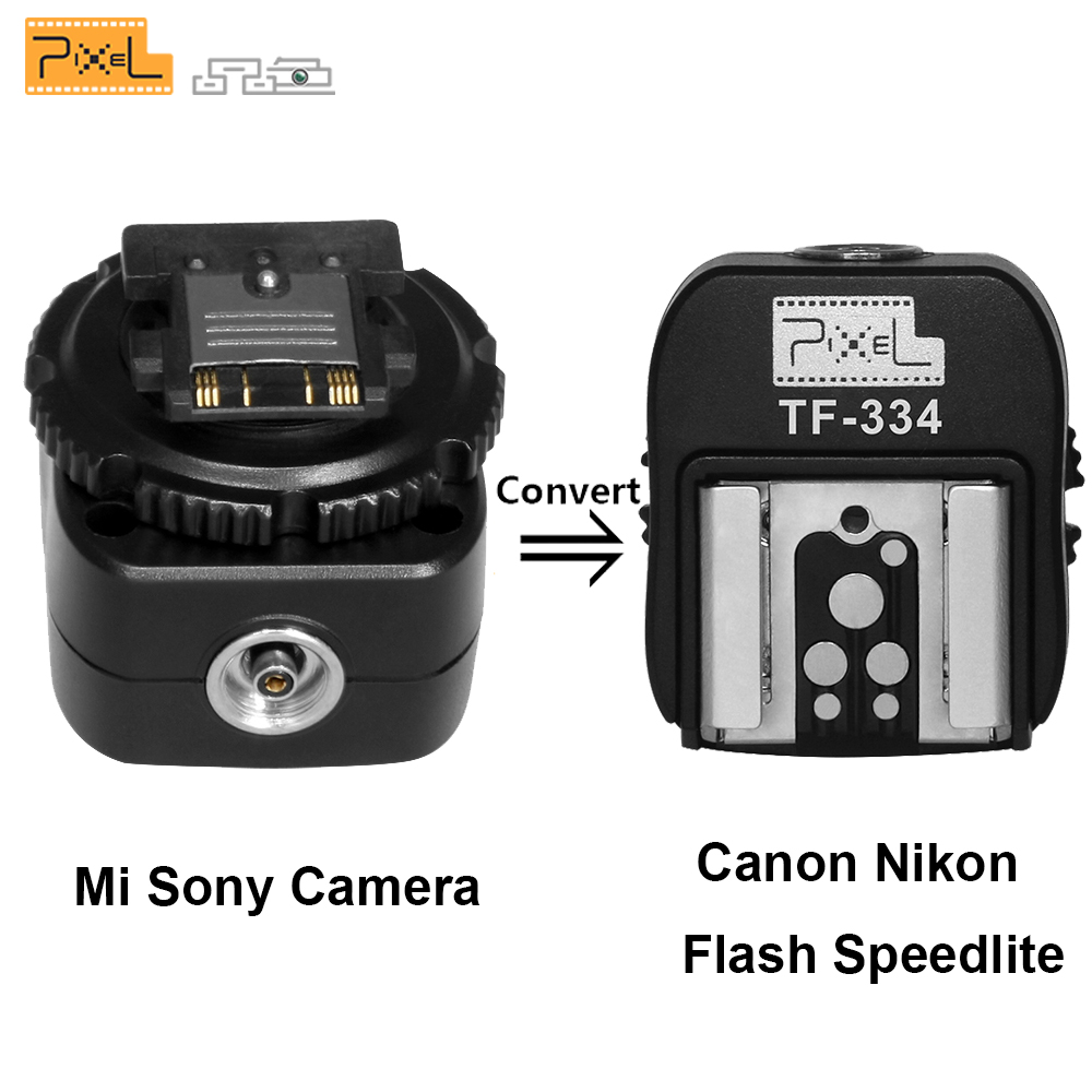 Galleria fotografica Pixel TF-334 Hot Shoe Adaptateur Convertisseur Pour Sony A7 A7S A7SII A7R A7RII A7II NEX6 RX1 RX1R RX10 RX100II À <font><b>Canon</b></font> Nikon Speedlite