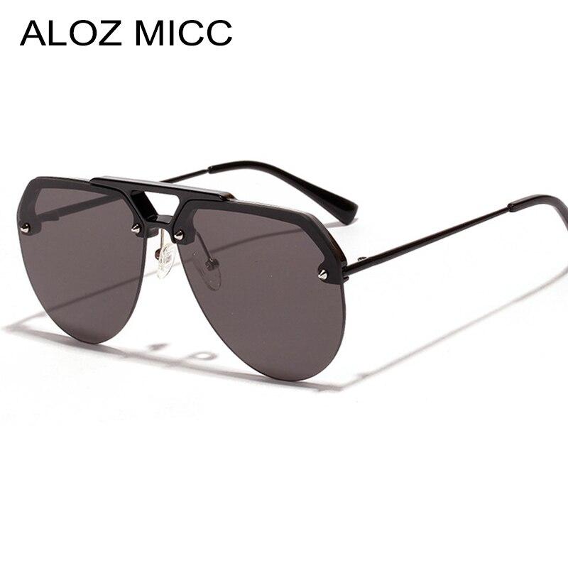 ALOZ MICC Fashion Women Rimless Sunglasses Men 2019 Brand Design Oversized Sunglasses Women Vintage Shades Goggles Eyewear Q522