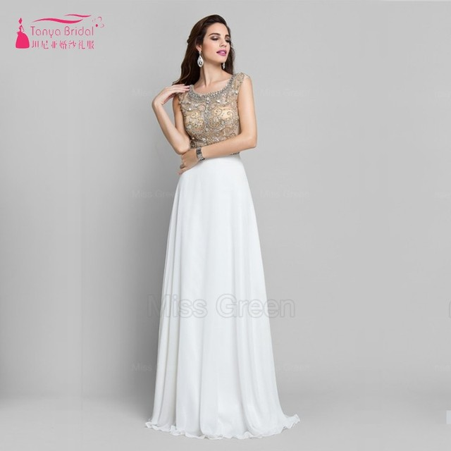 Gold Beads White Chiffon Long Prom Dress Spring New Fashion Elegant ...