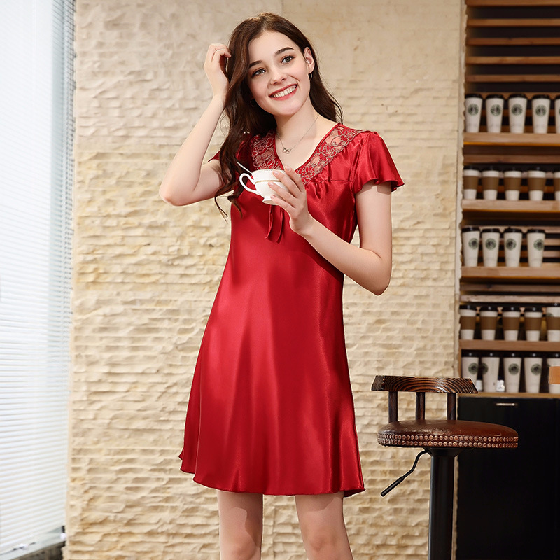 Chinese Style Bride Wedding Nightdress Summer Sexy Nightwear Women Sleepwear Charming Home Wear Mini Satin Sleep Dress