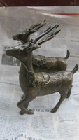 Rare Old Qing Dynasty copper a pair of deer, toting money, statue /sculpture, best collection&adornment,free shipping