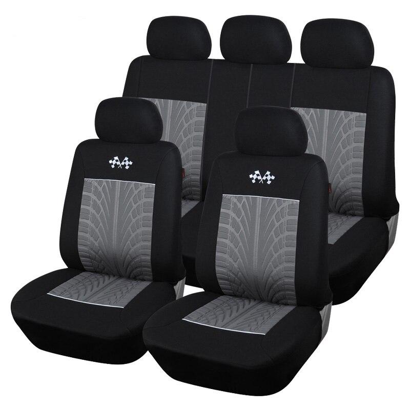 Voiture Housse De Polyester Tissu Universel Sport Style Automobile Siège Complet Protecteur Couvre Intérieur Décoration Accessoires