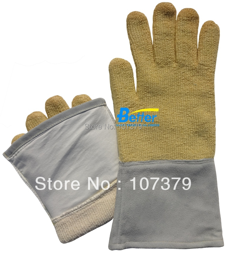 Aramid Fiber & Cow Split Leather 350 Centigrade Degree Heat Resistant Work Gloves new 500 centigrade heat resistant aramid fiber glove 100% aramid fiber heat resistant work glove