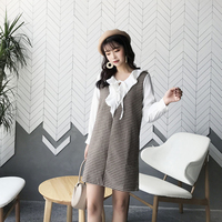 Office Lady Patchwork Fake Two Piece Shirt Dress Ruffle Long Sleeve Wool Elegant Plaid Mini Dresses
