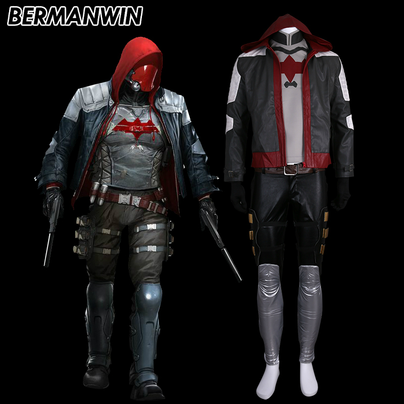 Red Hood Costume Adult Superhero Batman Arkham City Halloween Fancy Dress