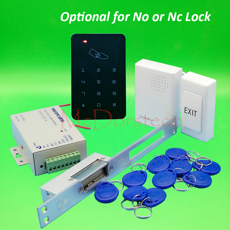 Brand New DIY Rfid Door Access Control Kit Set With No or Nc Long type Electric Strike Lock Full Access Control System digital electric best rfid hotel electronic door lock for flat apartment