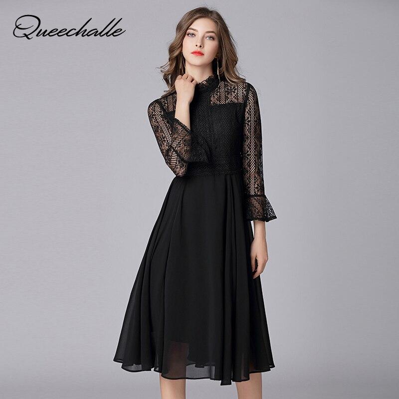 цена на L - 5XL New Spring Chiffon Dresses Hollow Out Women Flare Half Sleeve Floral Crochet Casual Black Lace Dress Femininas Vestidos