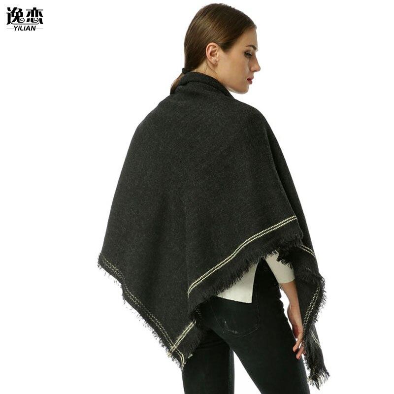 YILIAN Brand Vintage Inspired Oversized Winter Women Scarf Square Horizontal Cutting Soft Knit Design Lady Shawl Pashmina SF963