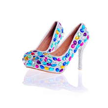 Multicolor Blue Red Crystal Wedding Shoes Women Cinderella Prom Shoes with Silver Rhinestone Heel Bride Wedding Party Pumps
