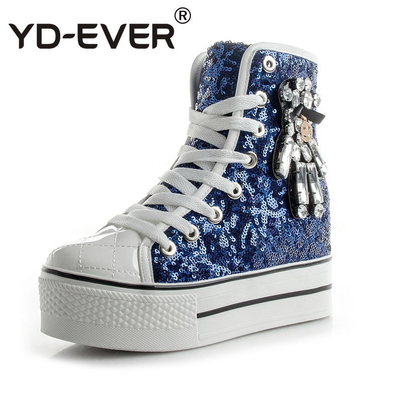 YD-EVER women Casual Shoes platform wedge shoes height increasing super high heel bling diamond crystal sneakers fashion boots 1