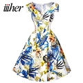 iiiher Floral Print Dress 2017 Ladies Summer 50s Vintage Sundress Women Robe Femme Sexy Casual Party Dresses Vestidos Mujer