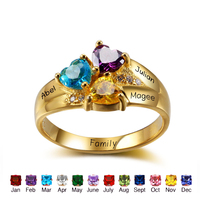 DIY Personalized Birthstone Promise Rings 925 Sterling Silver Cubic Zirconia Ring Fashion Names Ring For Mom