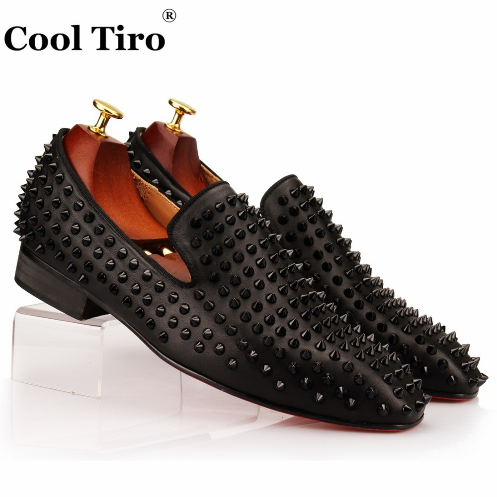 COOL TIRO Stuts Black Spikes Loafers Men s Flats Smoking Slipper Shoes Party Wedding Men Loafers