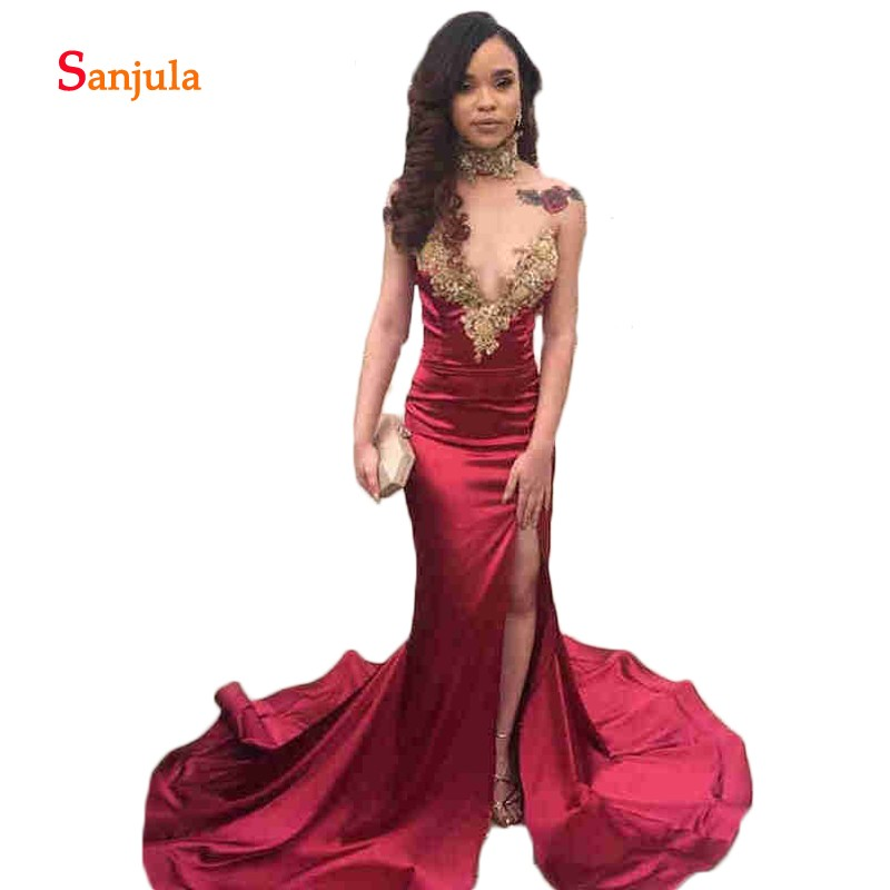 Mermaid African Burgundy Satin   Prom     Dresses   Long Simple   Prom   Gowns Sexy High Slit Sweetheart Girls Graduation   Dress   D793