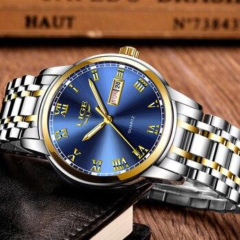 LIGE Men's Business Full Steel Top Brand Luxury Waterproof Quartz Watches 2